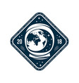 space badge with astronaut helmet and planet vector image vector image