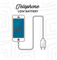 telephone low battery white background imag vector image