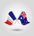 two crossed french and australian flags vector image vector image