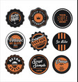 vintage labels black and orange set 2 vector image vector image