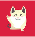 white pig with winking face and raised paw vector image vector image