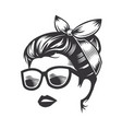 woman face with messy hair bun and sunglass line vector image