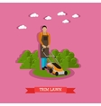 Gardener mowing the lawn with mower flat design vector image