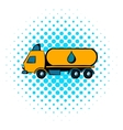 Truck with fuel tank icon comics style vector image