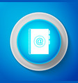 address book icon isolated on blue background vector image vector image
