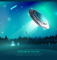alien spacecraft kidnapping poster vector image