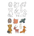 animals forest set with cute cartoon bears vector image vector image