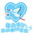 baby shower card invitation etc stork with boy vector image vector image