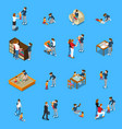baby sitter isometric people vector image vector image