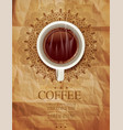 background with a cup coffee and an openwork pa vector image