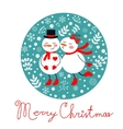 Beautiful Christmas card with two frosties kissing vector image