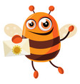 bee is holding a letter on white background vector image vector image