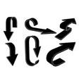 black silhouette arrows bent signs vector image vector image
