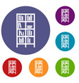 bookcase icons set vector image vector image