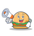 burger character fast food with megaphone vector image vector image