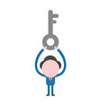 businessman character holding up key vector image