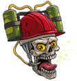 cartoon human skull in red drinking beer helmet vector image vector image