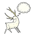 cartoon white stag with thought bubble vector image vector image