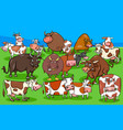 cows and bulls farm animal characters group vector image vector image