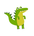 cute cartoon crocodile character standing vector image