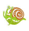 cute snail character funny mollusk colorful hand vector image vector image