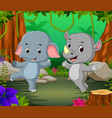 elephant and rhino in the forest vector image vector image