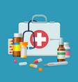 first aid kit medicine cartoon style isolated vector image