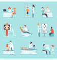 flat set of people on medical examination vector image vector image