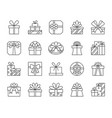 gift simple black line icons set vector image vector image