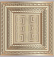 gold 3d ancient greek style ornate panel pattern vector image