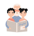 granddad reading book with grandchildren vector image vector image