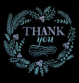 hand drawn chalk lettering thank you vector image