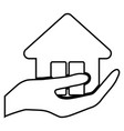 hand holding a house icon vector image