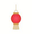 hanging red lantern with golden stripes vector image vector image