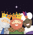happy three kings smiling in the night vector image vector image