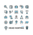 head hunting color thin line icon set vector image