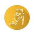 high heel shoe flat linear long shadow icon vector image