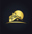house realty business gold logo vector image vector image