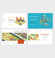 isometric kids playground websites vector image
