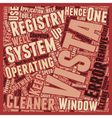 Learn About Windows Vista Registry Cleaner text vector image vector image
