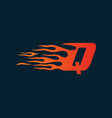 letter q flame logo speed logo design concept vector image vector image