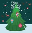 merry christmas post card-tree decor vector image