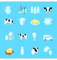 Milk Icons Flat vector image