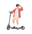modern boy riding electric walk scooter happy vector image vector image