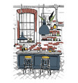 modern cafe interior in loft style hand drawn vector image vector image