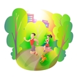 Morning jogging sports man woman and dog in the vector image vector image