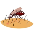 Mosquito cartoon sucking blood from human skin vector image vector image