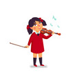 music school violinist boy character playing vector image vector image