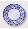 Plate with a wide floral design border in the vector image vector image