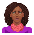 pretty afro girl with curly hair on white vector image vector image